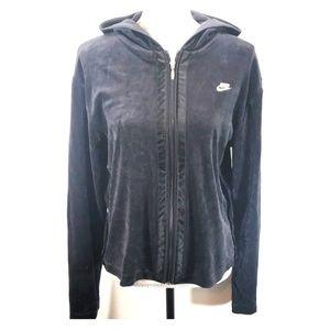 《Nike》Black Velvet Hoodie XL Full Zip Sweatshirt